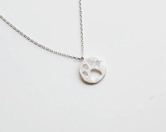 silver Dog Paw Necklace, cat Paw Necklace, bear paw necklace, pet lover necklace, dog necklace, Dog Paw Jewelry, wedding jewelry, gift