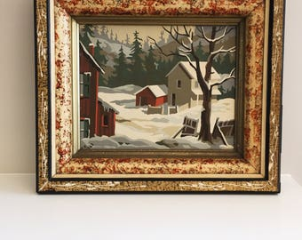 Framed Winter Barn Scene Paint By Number Mid Century Oil Painting