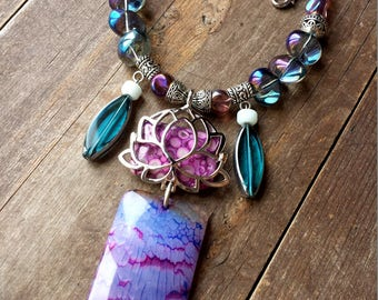 lotus necklace, large purple agate gemstone pendant, short boho necklace, healing crystals and stones new age jewerlry glass bubble necklace