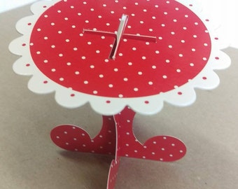 10x red and white, polka dot, cupcake stand, cake stand, alice in wonderland, 1st birthday, woodland party, high tea, cake dome, baby shower