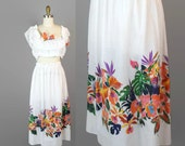 70s Tropical Crop Top and Skirt  / Caribbean Floral Skirt Set / Hawaiian Vintage Cruise Outfit