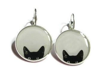 CAT EARRINGS - Peeking Cat earrings - black cat earrings - cat jewelery - black cats - peeking cat - cat lover - black - white
