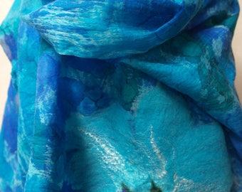 Felted silk scarf. Blue nuno felt wrap, shawl for women.