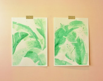 Pair of Banana Leaves Original Watercolor Paintings