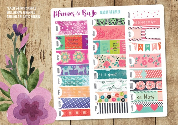 Planner Washi SAMPLES, 24 inch Washi Samples, Bullet Journal Washi ...