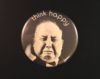 "Humorous  HALLMARK LOVE DOTS Pinback Button ""Think Happy"" Vintage"