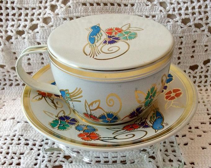 "1997 DANA KUBICK Lidded Tin Tea Cup Set ""Elite Gift Boxes"