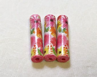 Floral Paper Beads Set Artisan Handmade Beads for Pens and other Beadable Products