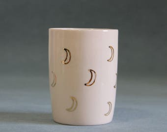 gold moon mug / moon tumbler / gold moon ceramics / gold moon pottery mug / unique coffee mug / best friend gift / unique birthday gift