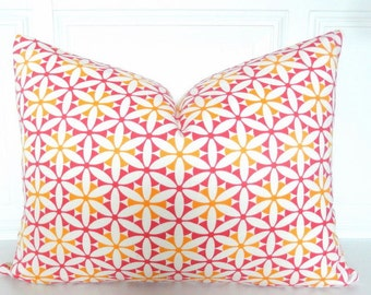 Rosy Pink Pillow Cover - Pink Yellow Pillow - Lumbar Pillow 12 x 16 - Pink Throw Pillow  Accent Toss - Small Pink Pillow Accent Pillow