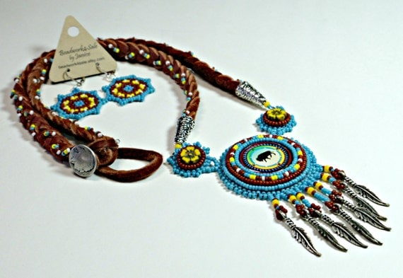 "Limited Edition ""Buffalo Prairie"" Beaded JEWELRY SET, Native American Inspired, Southwest Design, Bead Embroidery Necklace, Mandala Earrings"