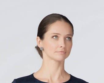 Grey Round Stud Earrings - Bead Crochet Stud Earrings - Warm Gray Shade Post Earrings - Fossil Gray Earrings