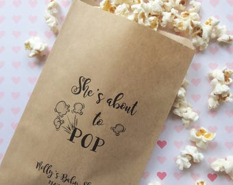 She's about to POP - Baby Shower Favors - Popcorn Bags