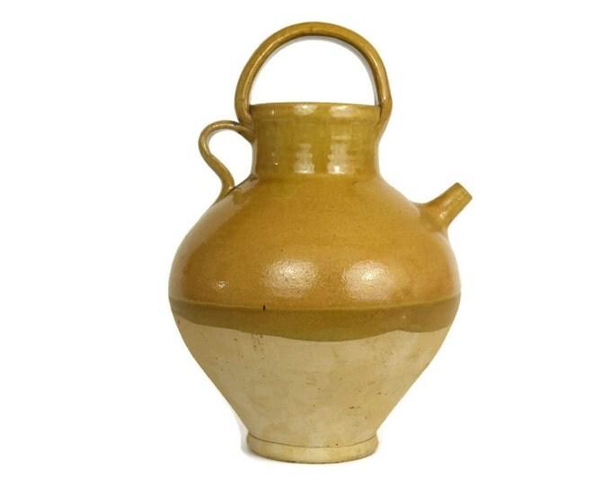 French Stoneware Wine Jug. Half Glazed Ocher Ceramic Urn. French Provencal Decor. Foodie Gift