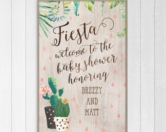 Cactus Baby Shower Welcome Sign - Custom Desert Bridal Shower Sign - Personalized Printable or Print