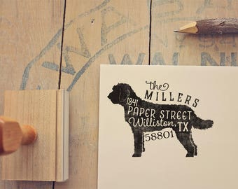 Labradoodle Address Stamp - Goldendoodle Dog Return Address Stamp - Dog Lover Gift - Rubber Stamp - Personalized Pet Address Stamp