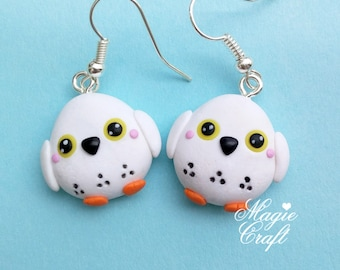 Snow Owl Earrings - Handmade in Polymer Clay