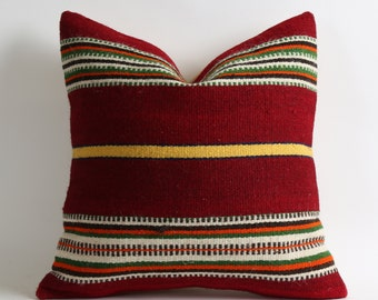 16x16 kilim pillow cover red pillows stripe pillow