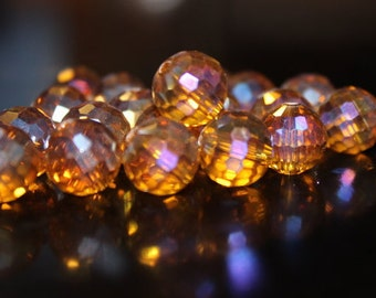 20 light brown12 mm AB electroplated faceted round glass beads, hole 2 mm