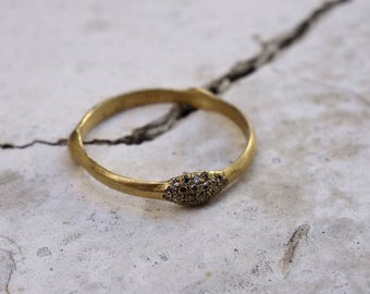 Unique Wedding Ring Champaign Diamonds Ring Wedding Ring Promise Ring Unique Gold Ring Engagement Ring Multistone gold band