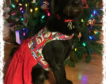 Christmas Dog Dress - XXS,XS, S...Holiday Pet Clothes, Holiday Dog Dress, Santa Dog Dress, Pet Clothes, Dog Clothing, Christmas Pet Outfit