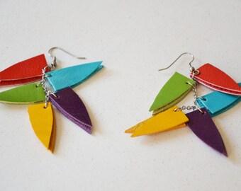 Geometric leather earrings, Extra Long earrings, Bold jewelry, Multicolor earrings, Gift under 15, Chunky earrings, Girlfriend gift, For her