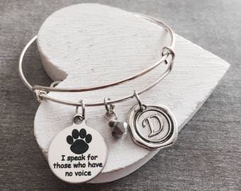 I speak for those, who have no voice, Silver Bracelet, Charm Bracelet, veterinarian, vet, Vet tech, Grad, Graduation, Silver Jewelry, Gifts