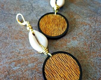 Ethnic Cowry Earrings, Bohemian Dangle Earrings, Papaya Bark Brass Cowrie Shell Earrings, Natural Jewelry Afrocentric