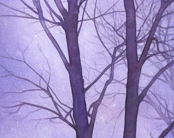 Starry Sky and Winter Trees watercolor