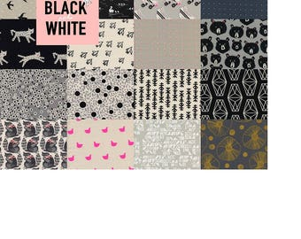 Half Yard Bundle (16) BLACK AND WHITE Collaborative by Cotton and Steel 2017 Half Yards
