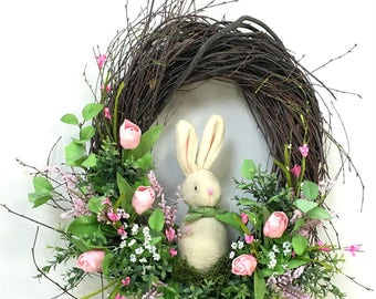 Spring Wreath, Easter Wreath, Bunny Wreath, Tulip Wreath, Spring Floral, Spring Décor, Easter Décor, Bunny, Easter Floral, Pink Tulips