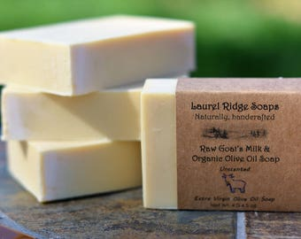 Raw Goat's Milk and Organic Extra Virgin Olive Oil Soap -- Unscented (VEGETARIAN)