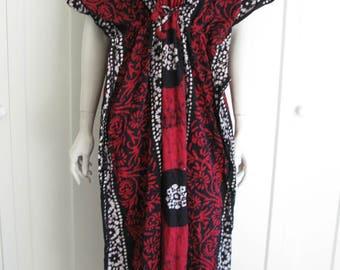 SALE - Vintage Batik Tunic Maxi Dress - Ethnic Boho Beach Cover Up O/S