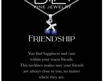 DTLA Friendship Necklace in Sterling Silver with Inspirational Quote Card - Sapphire Blue CZ