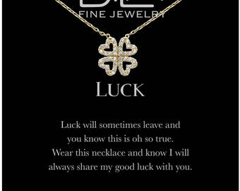DTLA Good Luck Four Leaf Clover Necklace in Sterling Silver with Inspirational Quote Card - Gold Plated Silver