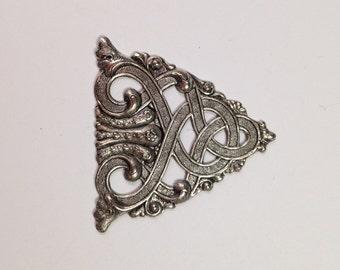Celtic Scroll Antique Silverplate OX Brass Stampings-Jewelry Findings , Brass findings, stampings