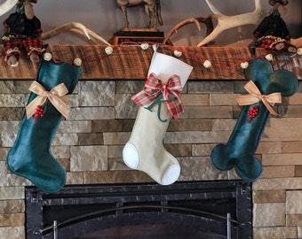 Dog Christmas Stocking // Green Christmas Stocking // Dog Bone Christmas Stocking // Creme Christmas Stocking // Custom Stocking