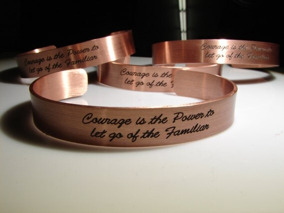 Completely customized copper cuff or bracelet including one sided engraved option for two sided. Personalized jewelry.