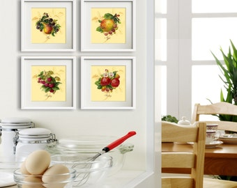 Simple Fruit Yellow - Set of 4 Art Prints, Square Print Art, Modern Farmhouse Chic Style, Kitchen Fruit Art, French Country Style