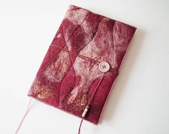 Notebook, Sketchbook, Journal, Diary Cover, A5, Handmade Felt, 'Burgundy', OOAK, UK Seller