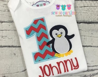 boy penguin birthday Outfit - First Birthday penguin Shirt - Penguin Birthday outfit - Baby boy winter Birthday - 1st birthday outfit boy