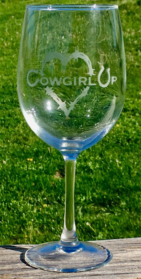 Cowgirl Up, Western, Barbwire, Wine Glass, Birthday Gift, Gift for Mom
