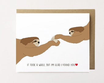 Sloth card, Sloth Anniversary Card, Cute Anniversary Card, Sloth Love Card, Greeting Card for Him, Valentines Card for Her, I Love You Card