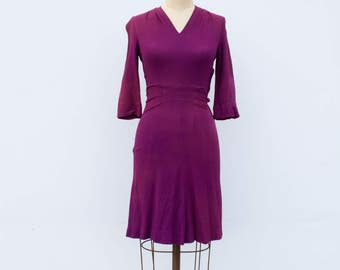 1940s vintage plum crepe dress