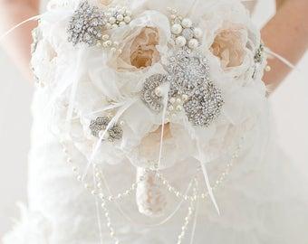 Custom Champagne Fabric Flower Bouquet, Pearl Silver Brooch Bouquet, Fabric Bouquet, Alternative Bridal Bouquet, Cascading Jewellery Bouquet