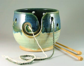 Pottery Yarn Bowl - Glossy Teal-Blue and Ivory / Ceramic Knitters Bowl / Spiral Slotted Yarn Bowl