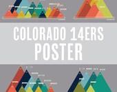 "Colorado 14ers Poster - Vintage Multicolor - 24x24"" - Sorted by mountain range"