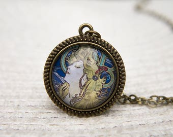 Mucha Necklace, Mucha Pendant, Art Necklace, Art Pendant, Alphonse Mucha, Art Nouveau, Job, Glass Dome Necklace, Art Jewellery, Mucha