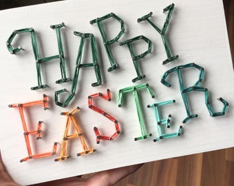 MADE TO ORDER String Art Happy Easter Sign