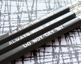 Funny zombie gift, foil engraved pencil, Boyfriend/girlfriend birthday gift, zombie survival rules pencil set